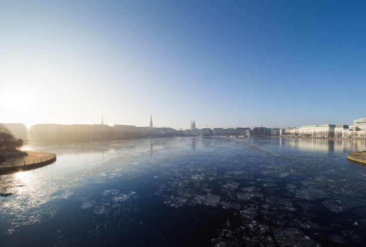 Floating ice sheets on the Alster lake.