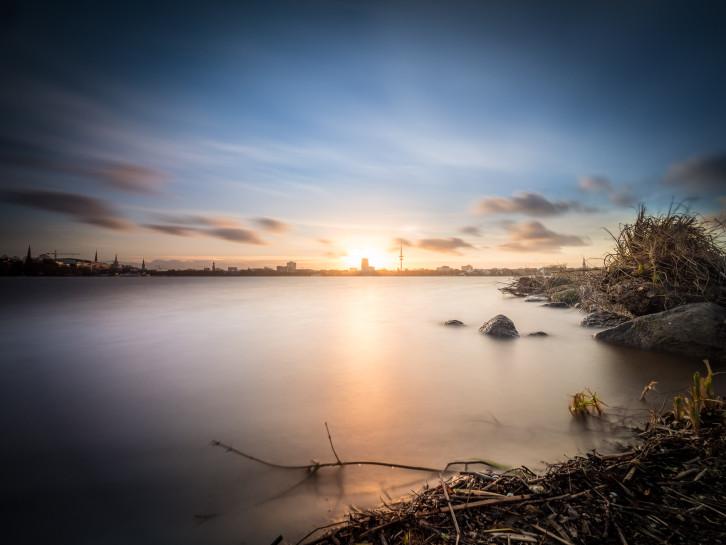 filtered spring sunset